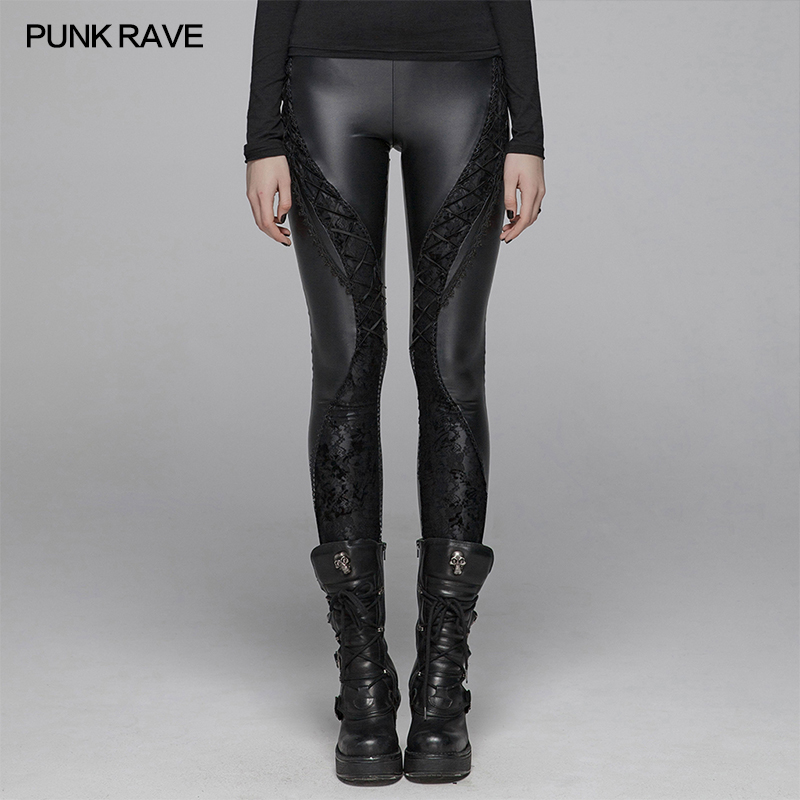 PUNK RAVE New Gothic Devil Footprints Black Women Leggings Fashion Hollow Out Punk Stretchy female Slim Sexy Dark Pants