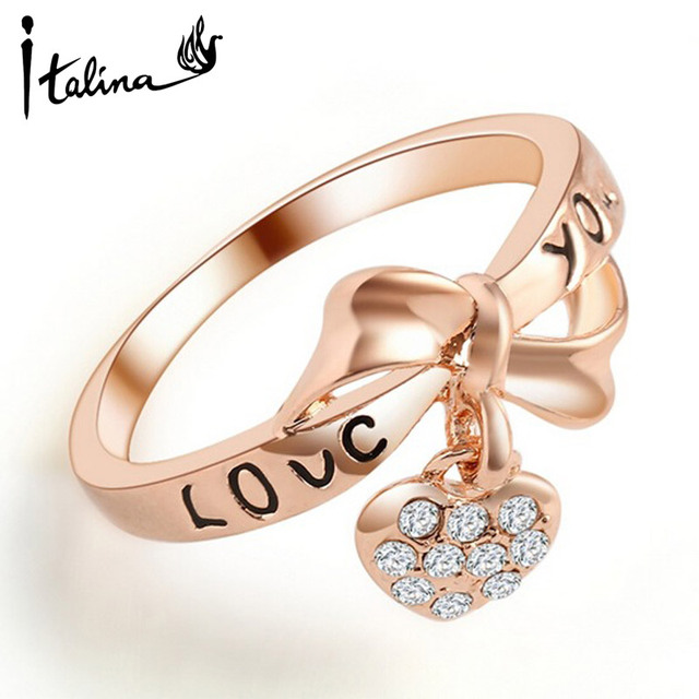 Rose Gold color wedding rings for women Love you word Heart Pendant with Austria Crystals Anel Bijoux Top Quality