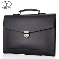 YINTE Leather Briefcases 12 Laptop Handbag Men's Business Totes Office Lawyer/Document/Computer Bag Data Packet Portfolio 8570A