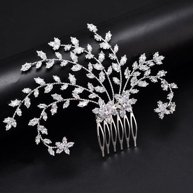 Tiara Hadiyana Fashion Bride Crown Jewelry Headpiec Soft Luxury Barrettes With Zircon Women BC4918 Bridal Hair Combs Accessories