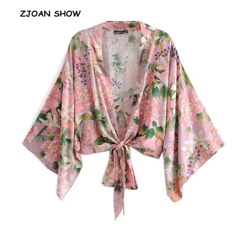 2019 New Women Bohemian Flower Crane Print Kimono Shirt Batwing Sleeve V-Neck Lacing Up Bow Tide Cardigan Blouse Femme Blusas