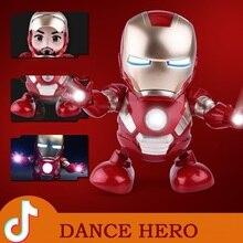 цена на Can Dance Iron Man Marvel Avengers Action Figure Toy Led Flashlight With Light Sound Music Robot Iron Man hero Electronic Toy