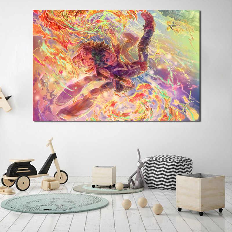 بطلي الأكاديمية مضحك أنيمي جدار الفن قماش الملصقات يطبع جدارها صور للأطفال غرفة نوم ديكور المنزل الإطار HD