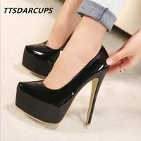 TTSDARCUPS/Новая женская обувь пикантные туфли-лодочки на платформе и очень высоком каблуке 15 см для ночного клуба Большие размеры 35-44 Estos zapatos son ...