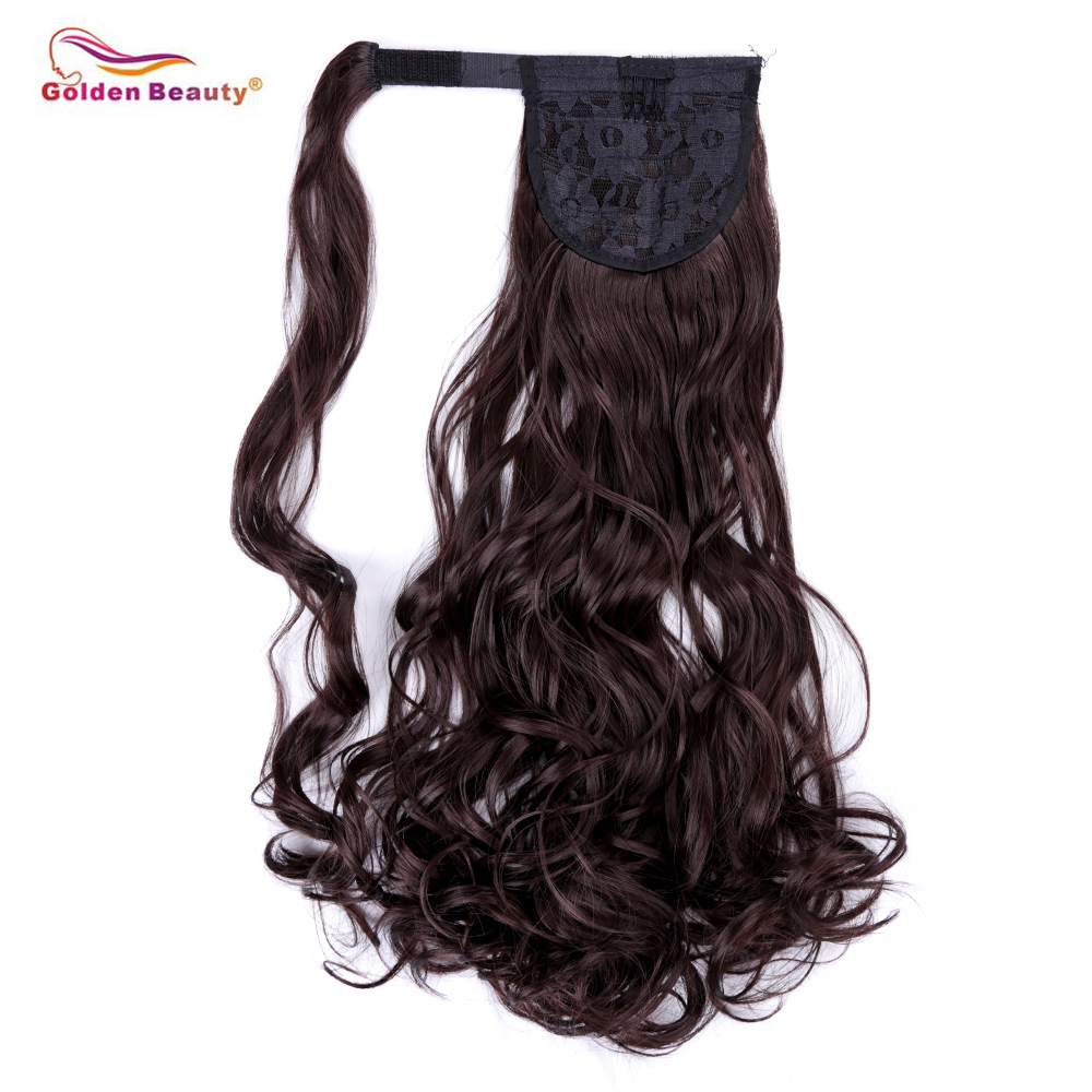 10inch Wavy Curly Wrap Around Ponytail for Woman Synthetic Hair High Drawstring Ponytail Extensions Golden Beauty