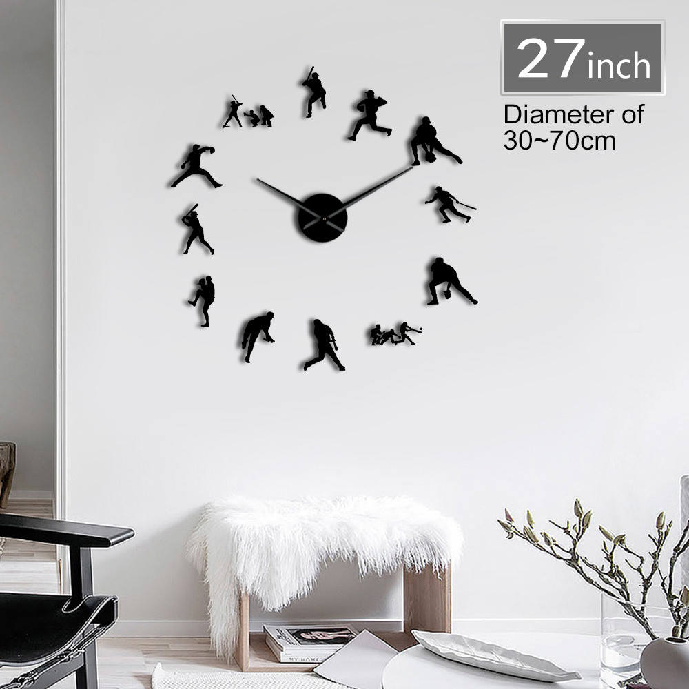 Contemporary Baseball Giant Diy Wall Clock Modern Sport Glove And Bat Silent Mirror Effect Sportsmen Room Decor In Clocks From Home