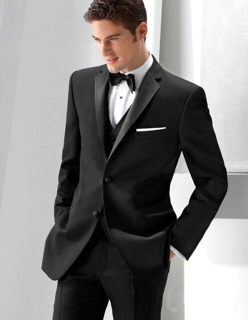 Mens Fashion Slim Suits Jacket Pant Vest Bow Tie Black Mens Skinny