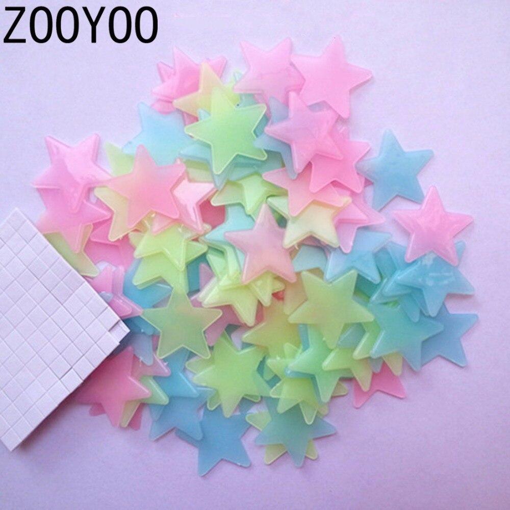 Zooyoo 100 unids 3d estrellas brillan en la oscuridad luminosa estrellas etiquet