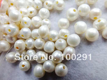 Free ship!!! A-464 9-10mm 2mm hole AAA+++ Quality Loose Potato Freshwater Pearl Beads Fit Bracelet And Necklace
