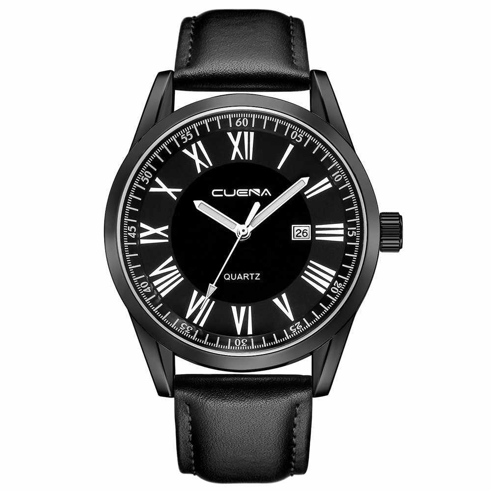 2019 Relógio de Homens de Moda de Nova Marca Top Data de Negócios Couro de Alta Qualidade de Design de Luxo Retro Militar Relogio masculino Reloj