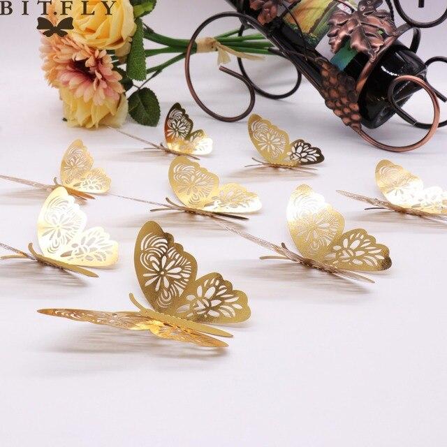 12 pz oro 3D Adesivi Murali Farfalle Farfalle Hollow FAI DA TE Complementi Arred