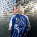 Big-nome Outwear Outono cetim bordado brasão bomber jacket 2017 casaco de inverno mulheres jaqueta Casaul peixe fino streetwear sukajan