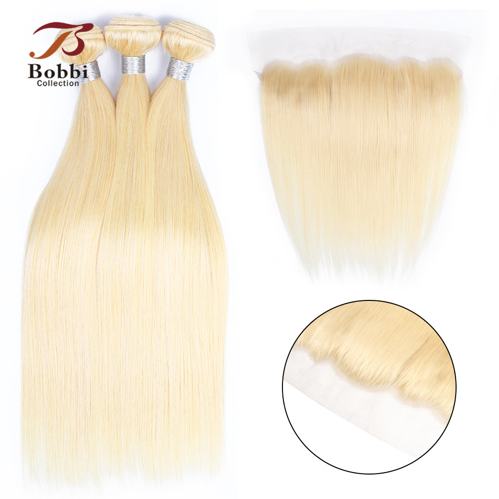 BOBBI COLLECTION Platinum Blonde 613 Bundles With Frontal Straight Human Hair Brazilian Remy Hair Weave 2