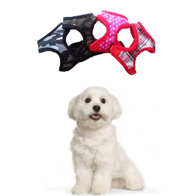 1Pcs Camouflage Dot Plaid Puppy Dog Harness Mesh Dog Collars Pet Supplies 4 Colors 5 Sizes Available. Hot Sale ...