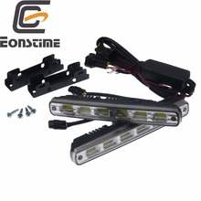 Eonstime 2pcs White Universal DC 12V 24V COB LED Daytime Running Light Super Car DRL font