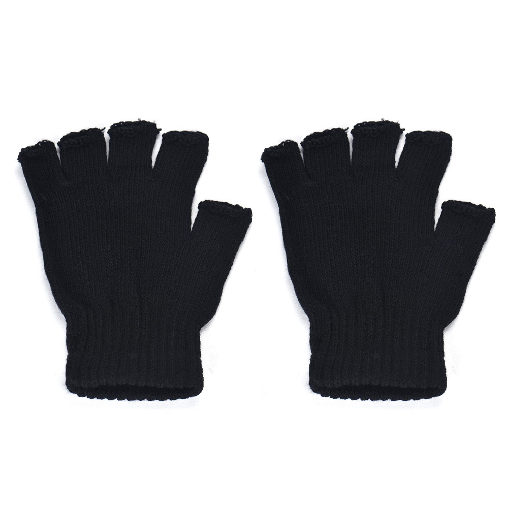 KLV Men Black Gloves Knitted Stretch Elastic Warm Half Finger Fingerless Men Gloves Fashion Stylish Comfortable To Wear Z0927