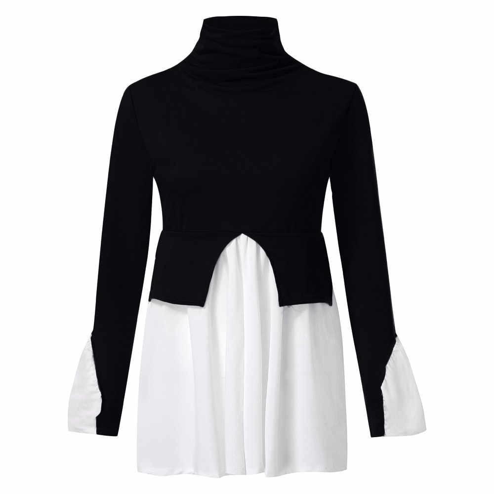 dbd6f5a0c6f ... Puff Sleeve Frill Hem Jumper Womens t shirt Fashion Ladies High Neck  Tops T-Shirt ...