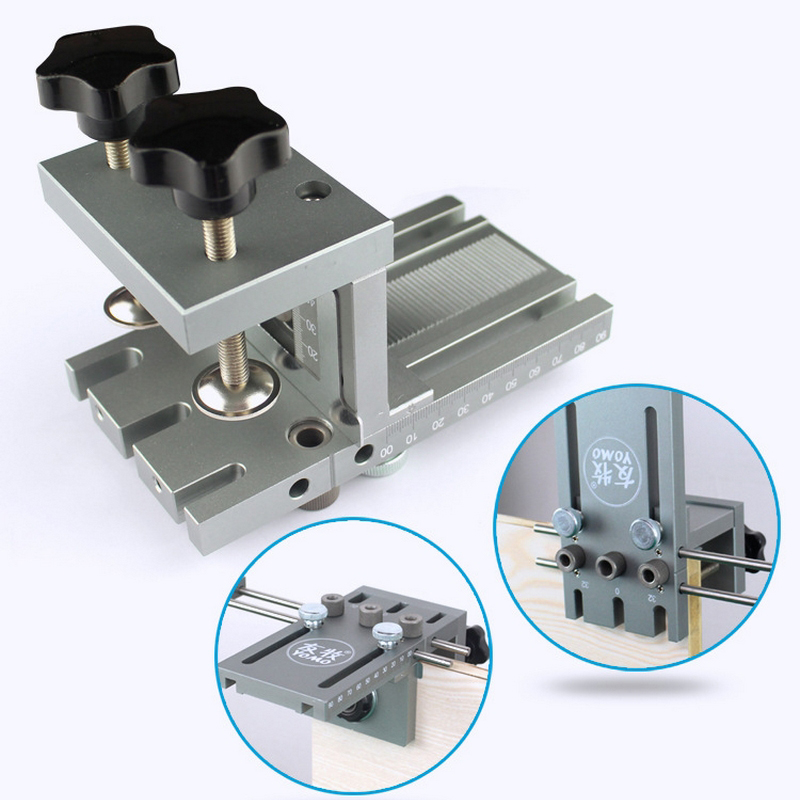 3 in 1 DIY Woodworking Hole Drill Punch Positioner Guide Locator  Jig Joinery System Kit Aluminium Alloy Wood Working Tool3 in 1 DIY Woodworking Hole Drill Punch Positioner Guide Locator  Jig Joinery System Kit Aluminium Alloy Wood Working Tool
