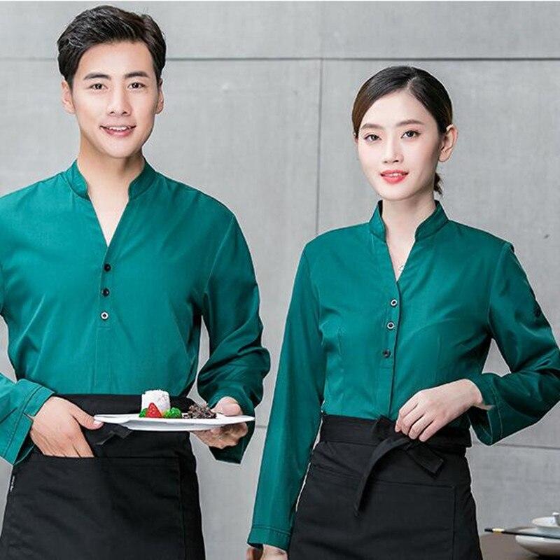 Waitress Work Clothes Long Sleeve Hotel Restaurant Uniform Jacket Tea House Hot Pot Women's Men Waiter Single Top Overalls H2346