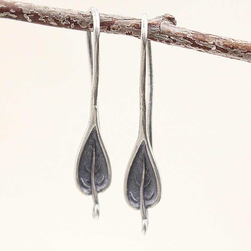 925 серебряные серьги Крючки с серебряными листьями для изготовления ювелирных