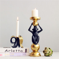 Candle Holders Banana Monkey Candlestick Resin Art&Craft Home Decoration Accessories Wedding Gift R125