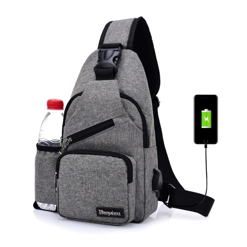 (USB Charge Interface) Chest Bag Canvas Sling Bag Shoulder Satchel Large Crossbody Charing Bag With Side Bottle Pocket