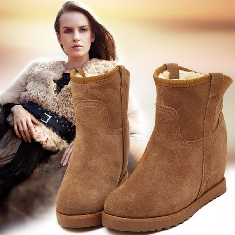 ФОТО 2015 Hot sale  Brand woman winter snow boots waterproof cowsplit thermal short genuine leather wool elevator Girl autumn boots