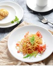 Fashion Plain White Round Shallow Dish Steak Plate Ceramic Flat Plate Bone Breakfast Meal Kitchen Home Tableware Dinner Plates