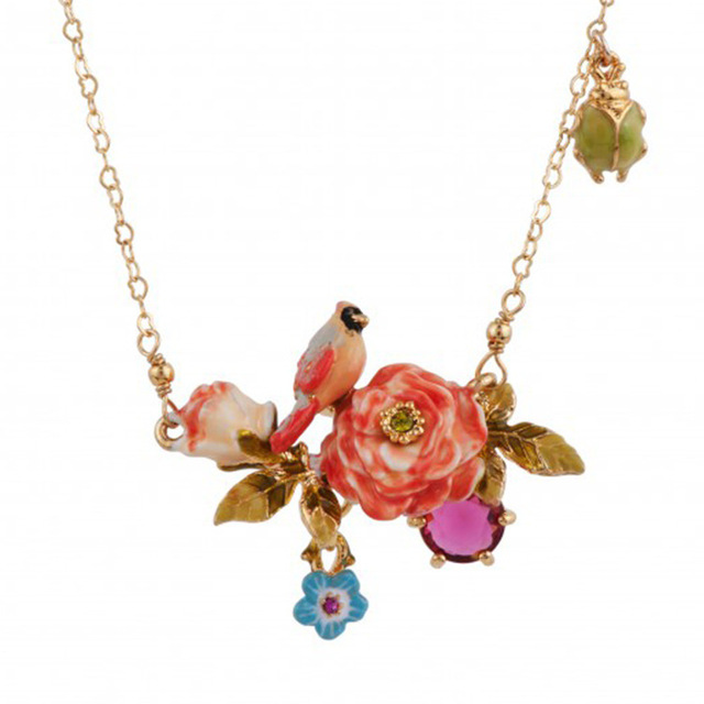 New Arrivals Painting Of Flowers Birds Series Enamel Red Parrot Peony Flower Acrylic Necklace Women Copper Alloy Jewelry
