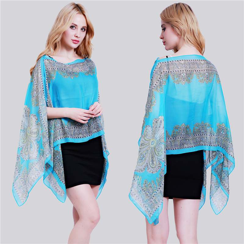 Women Pullover Square V-neck Swimsuit Cover Up Bohemian Rainbow Printed Chiffon Cape Shawl Oversized Loose Kimono Beachwear 100% High Quality Materials Women's Clothing