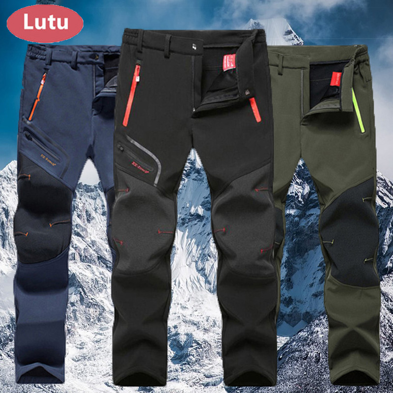 LUTU warm Autumn Winter Softshell Hiking Pants Men Waterproof Outdoor Trousers Sports Camping Trekking cycling ski fleece Pants цена