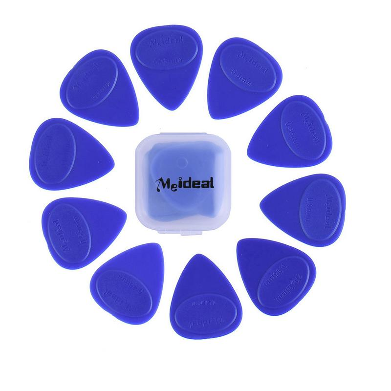 Hot 10Pcs Guitar Picks 10 Different Thickness Guitar Pick Bass Guitar Electric Guitarra Plectrums Accessories With Plastic Box