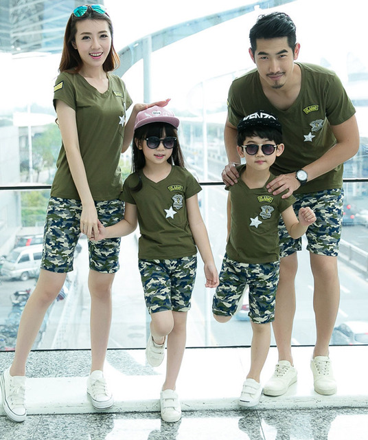 2016 summer camouflage cotton family matching clothing set mother father baby outfits family casual sports look