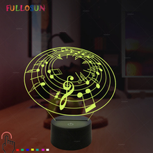 FULLOSUN LED 3D Night Lamp Music Note Light 7 Color Desk for Room Decora Optical