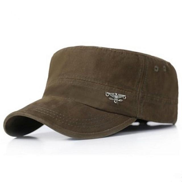 2018 gorras para hombres adultos primavera y verano moda algodón militar  sombreros ajustables Casual techo plano 7d82e2f4476