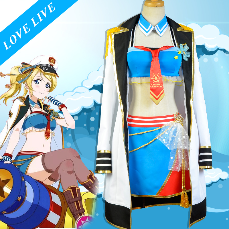 Anime Love live Eli Ayase Action Figure cos Awaken Navy Lolita Dress Cosplay Costume Hallowmas Love live Eli Ayase Uniform Dress 18cm japanese anime lovelive love live school idol project birthday figure project eli ayase ellie 1 8 scale pvc action figure