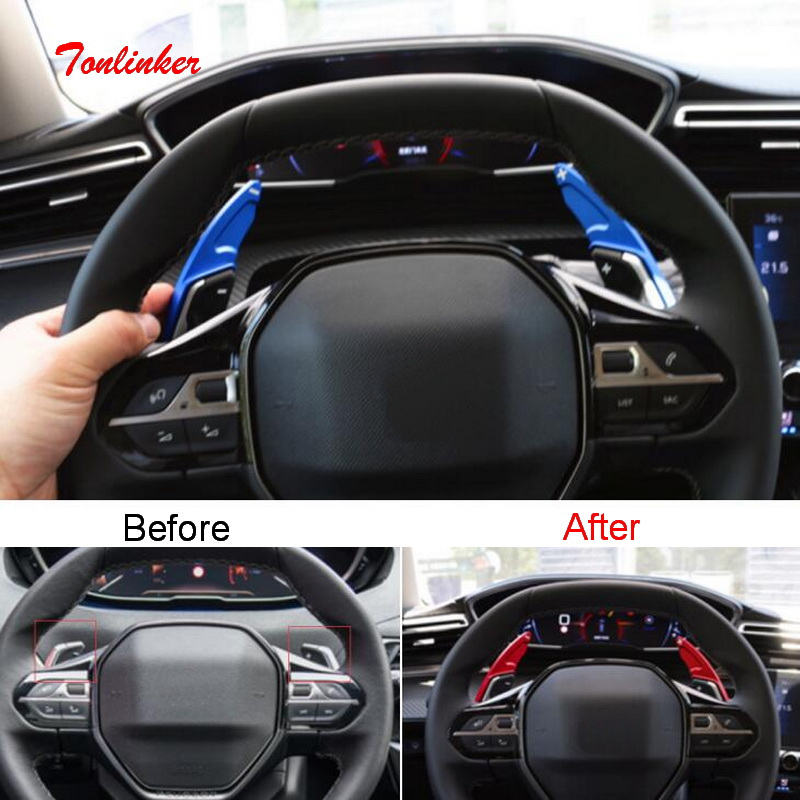 Tonlinker Interior Steering wheel Shift paddle Cover sticker for Peugeot 3008 2017 19 Car Styling 2 PCS Aluminum Cover sticker