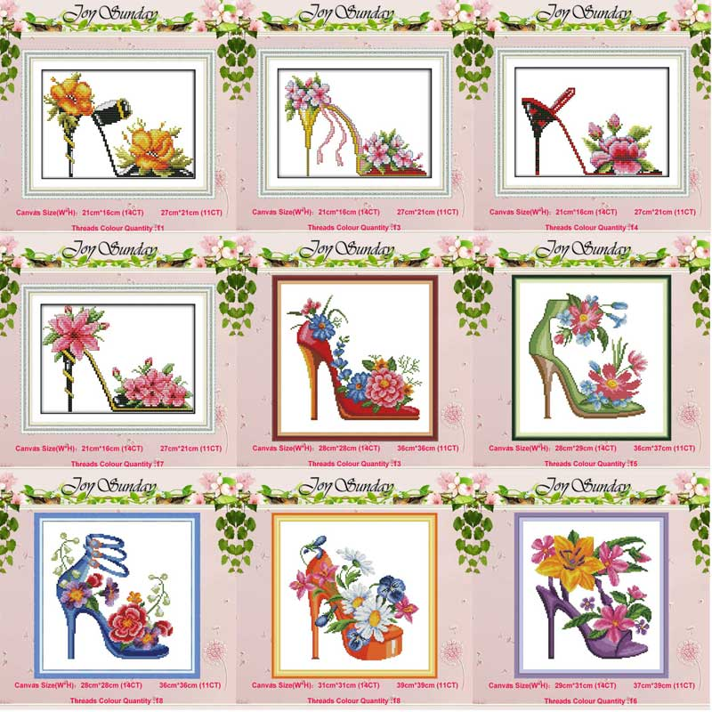 Fashion High Heels Cat Flower Counted 11CT 14CT Cross Stitch Set DIY DMC Cross-stitch Kit Embroidery Needlework Home Decor