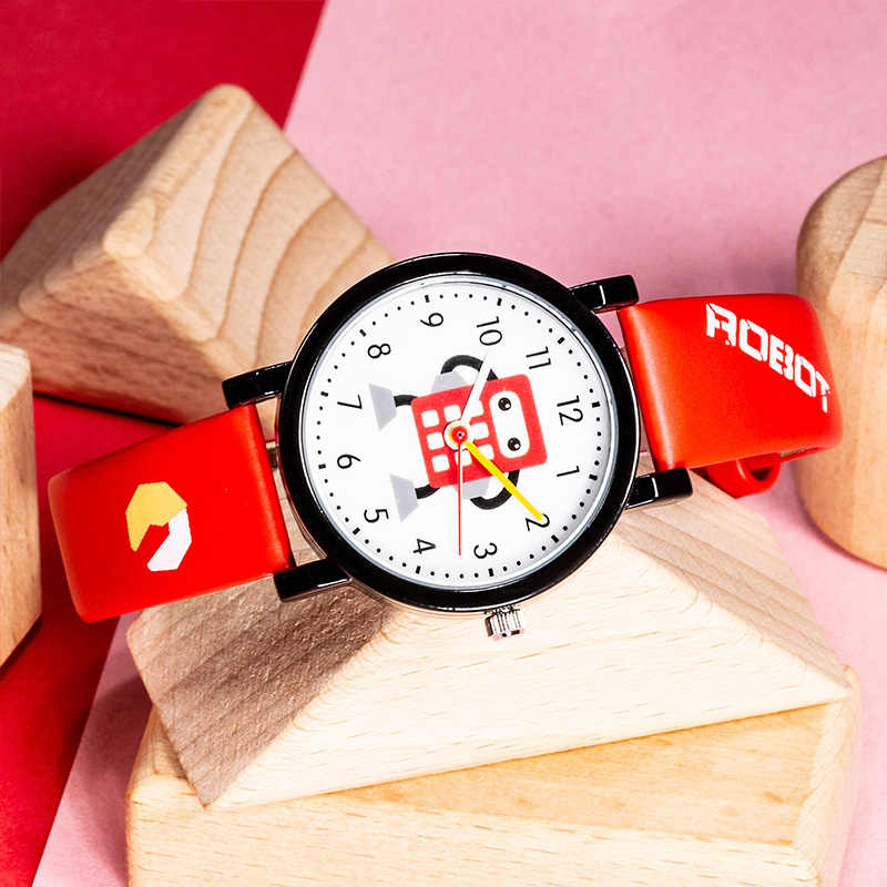 KDM אופנה קריקטורה רובוט שעונים לילדים ילדים עמיד למים עור רצועות ספורט שעוני יד קוורץ שעון ילד ילדה חמוד שעון