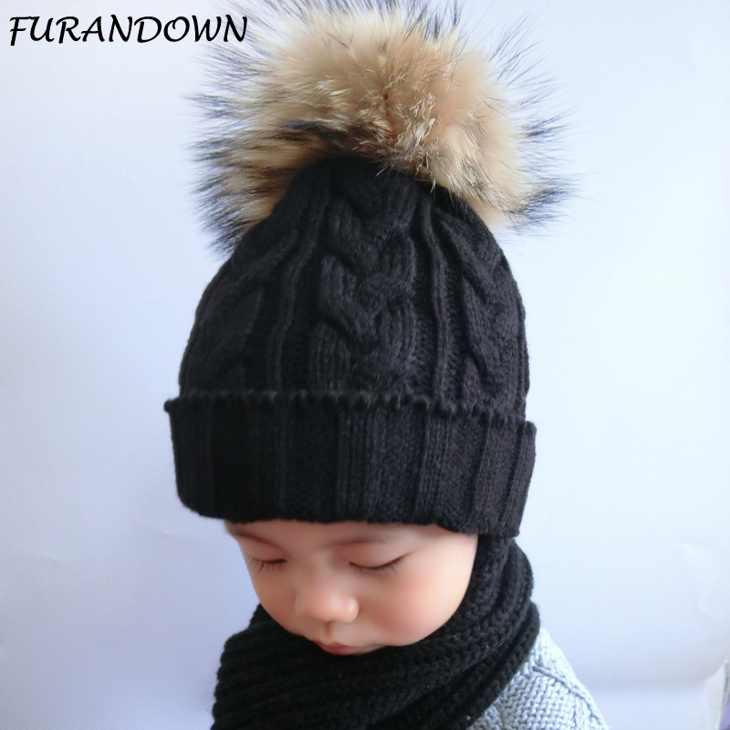 FURANDOWN Children Fur Pompom Hat Baby Boys Girls Winter Beanie Hats Wool Knitted Caps For Kids 2017 Hot Sale hot sale boys girls winter hats solid smile face warm hats for kids children boys wool knitted hats gorro lana