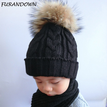 FURANDOWN Children Fur Pompom Hat Baby Boys Girls Winter Beanie Hats Wool Knitted Caps For Kids 2017 Hot Sale