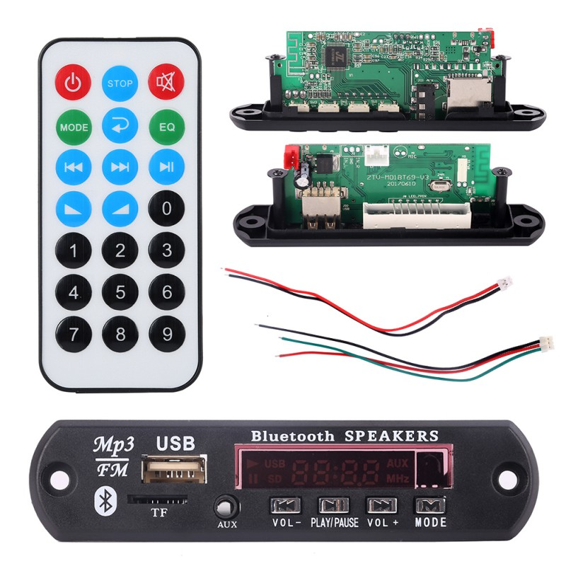 Universal 7-12V Car Bluetooth MP3 Decoder Board Decoding Player Module Support FM Radio USB/TF LCD Screen Remote Controller