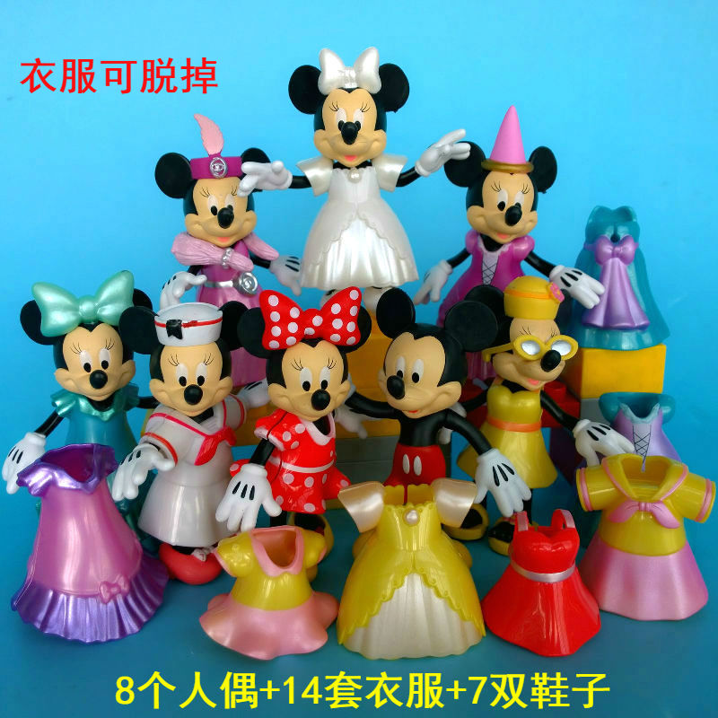 8 Disney Mickey Minnie Changed Dress Action Figures Doll Kids Playset Decor Toy