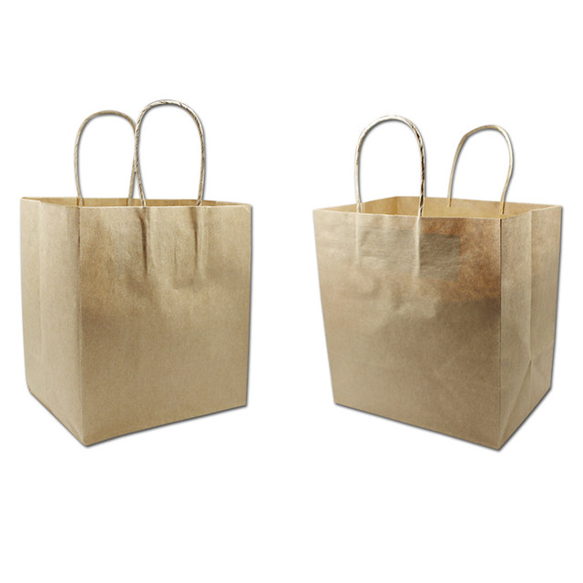 150pcs Wholesale Brown Kraft Paper Gift Bag With Handle Clothes