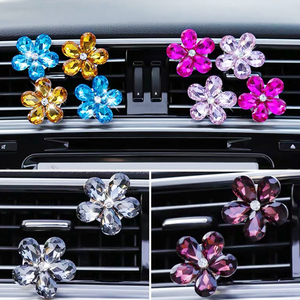 3pcs creative rhinestone crystal flower car air outlet perfume clip studded aroma car interior jewelry accessories women gift