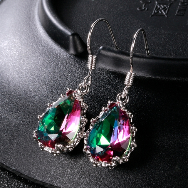 Rainbow Topaz Gemstone  Women's Drop Earrings Silver Earrings New Design 2018 Wedding Jewelry Daily Accessories