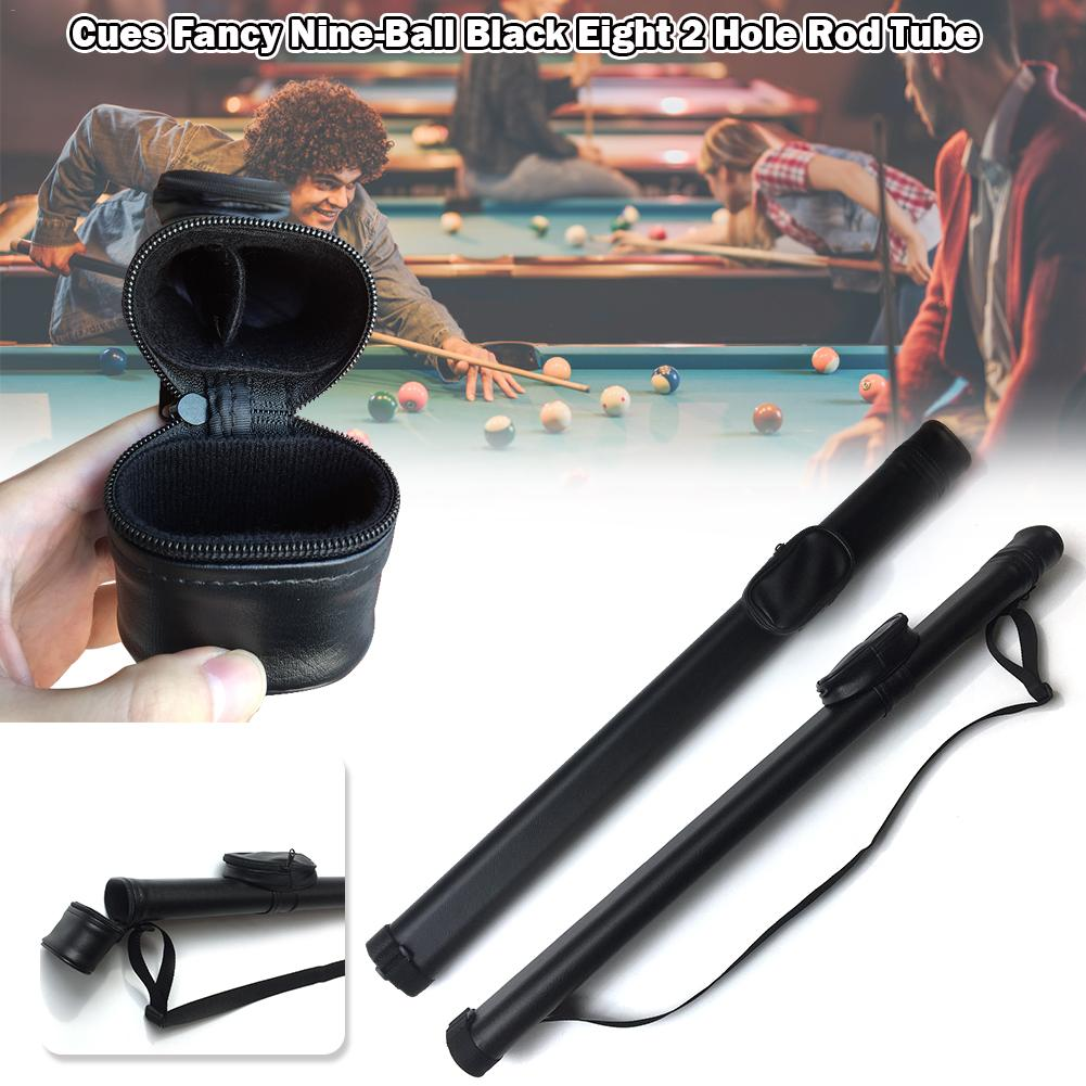 Hard  Pool Cue Stick Carrying Case Billiard Canister 2 Holes 1 Butt+1 Shaft Black Snooker & Billiard Accessories