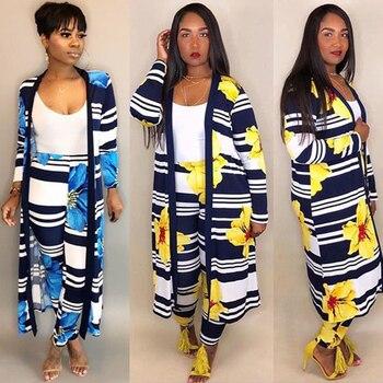 Conjunto de dos piezas Tropical pantalones elegantes con estampado Digital de flores para mujer capa Maxi abrigo cárdigan x-long Top 2 traje de talla grande invierno