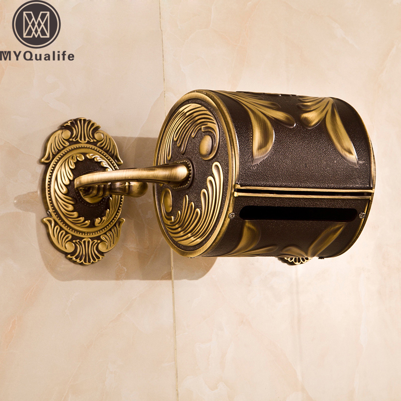 Artistic Carved Antique Bathroom Paper Tissue Box Wall Mounted Roll Paper Holder 100% Brass Copper antique carved toilet paper holder brushed tissue holder carton solid brass bathroom accessories wall mounted bathroom products