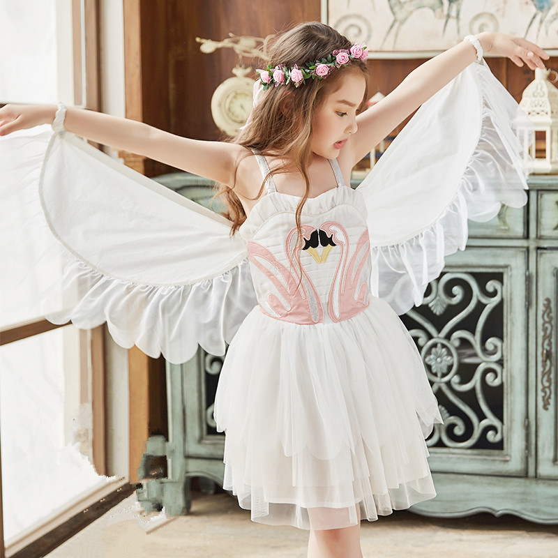 2018 Summer Ins Girl Dismantled Swan Wing Performance Dress Angel Flamingos Sling Dress White Dress 2 3 4 5 6 7 8 9 Years dress watches 8 z110 15dz110 page 3